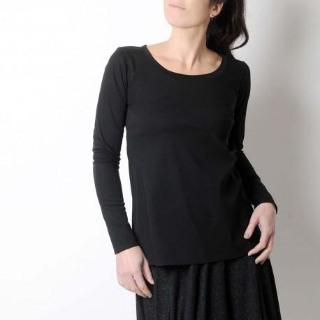 Top long noir fabriqué en France forme trapèze, manches longues étroites, jersey de coton