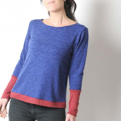 Blue and red women's sweater, soft knit jersey