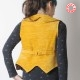 Short yellow sleeveless vest with slit collar