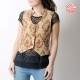 Sleeveless beige and dark red floral women's waistcoat