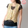 Sleeveless beige and green floral women's waistcoat