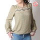 Beige checkered womens shirt with long puffy sleeves, vintage cotton