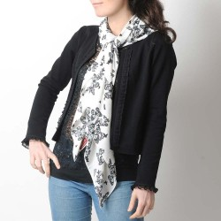 White and black butterly print shawl scarf