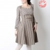 High waisted skirt with suspenders in brown and beige stripes