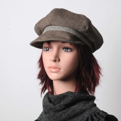 Beige and brown denim newsboy cap hat