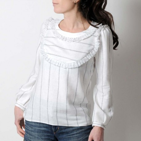 White supple cotton shirt with long puffy sleeves, voile ruffles