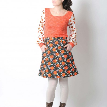 Short brown and orange floral womens skirt with pockets