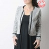 Short open cardigan, jersey and white lace