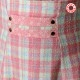 High waisted skirt with suspenders - neon pink, blue, green plaid