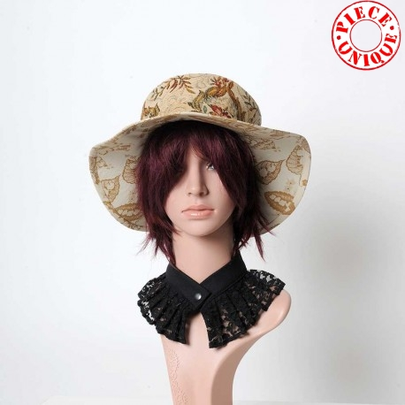 Women's hat in beige and crimson red floral
