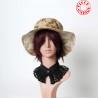 Chapeau femme, tissu vintage fleuri tons beige et bordeaux