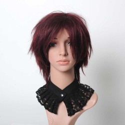 Pleated black cotton lace necklace, removable collar