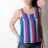 Striped sleeveless tank top in vintage green, blue, red fabric
