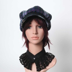 Black and green tartan newsboy cap hat