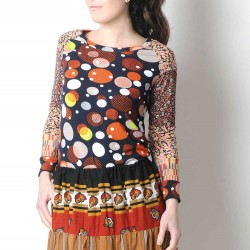 Black and orange womens top, floral and patterned jersey patchwork