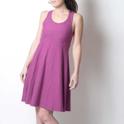 Fuchsia pink flared cotton jersey dress with crossed straps