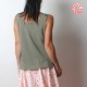 Green sleeveless top, floral and geometric prints