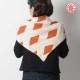 Large foulard original fabriqué en France beige et orange, losanges vintage