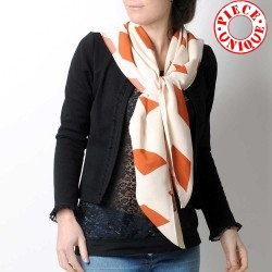 White and orange diamond print shawl scarf, vintage fabric