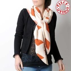 White and burnt orange diamond print shawl scarf, vintage fabric