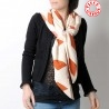 White and burnt orange diamond print shawl scarf, vintage fabric