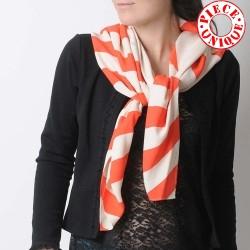 White and neon orange diamond and stripes shawl scarf, vintage fabric