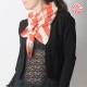 créateur fabrication française Large foulard beige et orange vif, losanges et rayures vintage