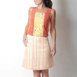 Jupe courte artisanale trapèze à poches, beige pois orange vif et rose poudré