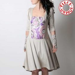 Robe fabrication artisanale mi-longue beige et violette, taille ajustable