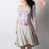 Robe mi-longue beige et violette, taille ajustable