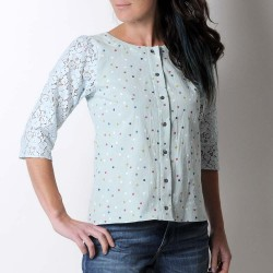 Pale green cotton and blue lace women's shirt with dots