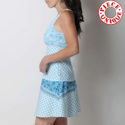 Blue and white short summer skirt, printed jersey