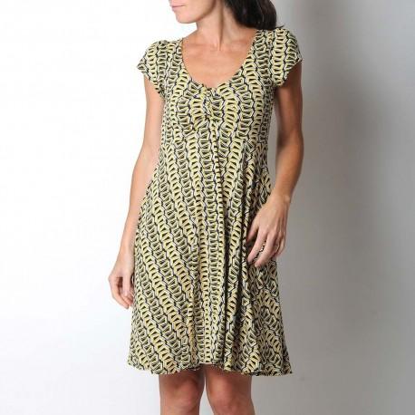 idée cadeau pour femme Robe jaune et noire motif géométrique, décolleté plissé, manches courtes