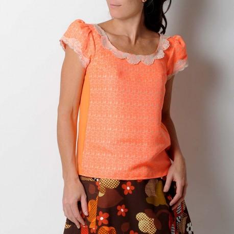 Short sleeved neon orange top, beige lace collar
