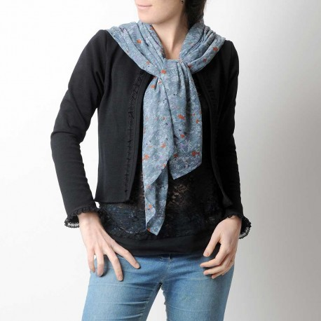 Foulard écharpe fait main en france souple bleu jean