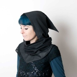 Cowl with removable Goblin Hood - Sparkly black