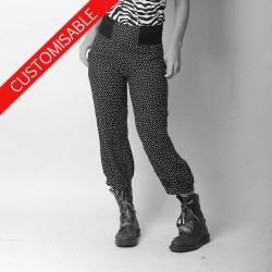 Womens pants with stretchy belt, pleated hem - CUSTOM HANDMADE