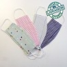 Set of 4 washable fabric face masks size M - Pastel stripes and dots