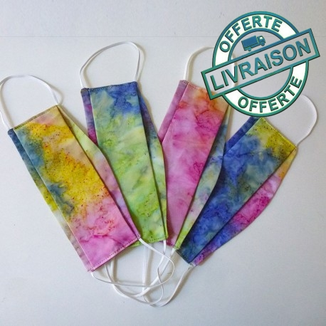 Set of 4 washable coorful tie-dye cotton face masks size S, M or L