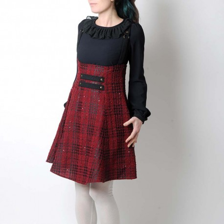 High waisted skirt with suspenders - dark red and black sequined tartan