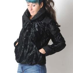 fabrication artisanale Veste courte noire fausse fourrure, grand col