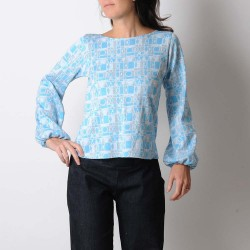 Blue, white and silver sweater with puffy sleeves