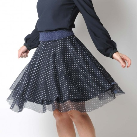 Navy blue polka dot layered tulle skirt, stretchy belt