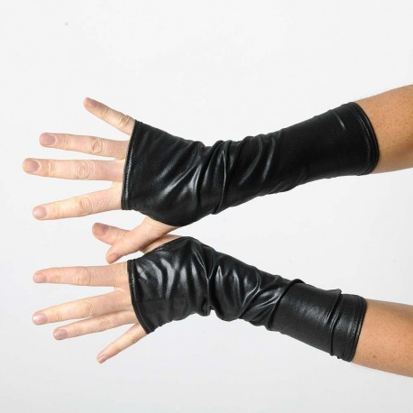 Long black jersey armwarmers - Coated finish fingerless gloves