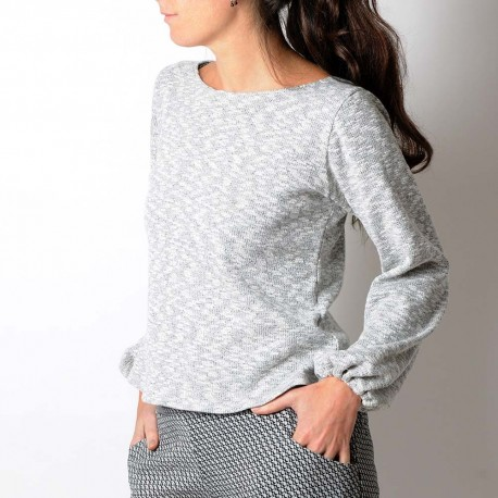 Pale grey, irregular knit sweater with puffy sleeves