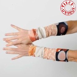 Pair of stretchy patchwork jersey cuffs, orange palette
