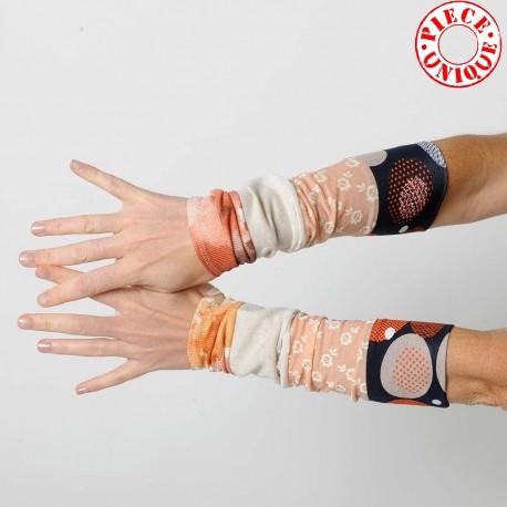 Pair of stretchy patchwork jersey cuffs, orange palette