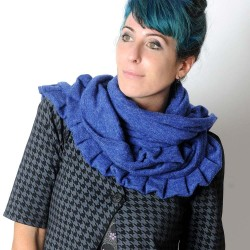 Soft and supple blue ruffled winter shawl
