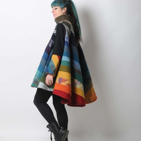 Multicolor high-low hooded Cape with wide sleeves, wool patchwork
