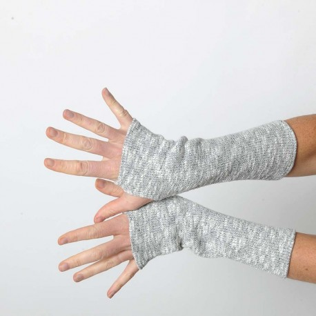 Thick grey knit winter armwarmers